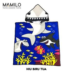 Harga handuk anak karakter ponco hoodie towel baju handuk anak jubah   10 hiu biru | HARGALOKA.COM