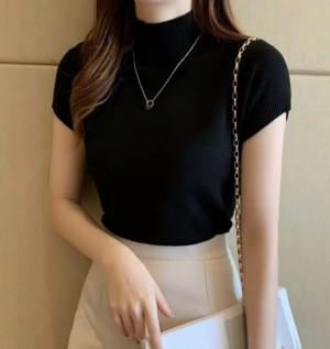 Harga baju atasan wanita turtleneck carenina rib   biru | HARGALOKA.COM