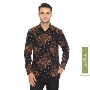 Harga agrapana adwitiya slim fit kemeja batik print lengan panjang   hitam | HARGALOKA.COM