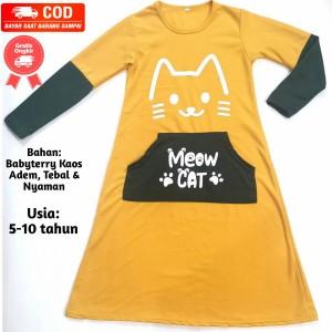 Harga baju anak perempuan gamis anak kantong gambar meow cat usia 5 10 tahun   kuning l 5 6 | HARGALOKA.COM