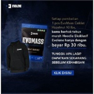 Harga evolene evomass 4 5kg evo mass gainer hoodie | HARGALOKA.COM