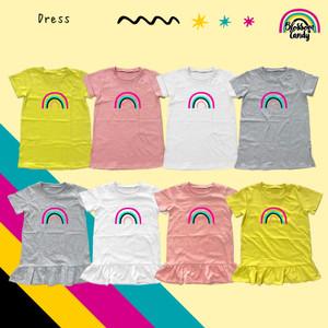 Harga blossomcandy   dress basic amp ruffle   rainbow   baju bayi amp anak   white  basic | HARGALOKA.COM