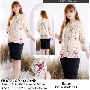 Harga blouse batik modern atasan cewek etnik baju wanita cantik murah   cream ld | HARGALOKA.COM