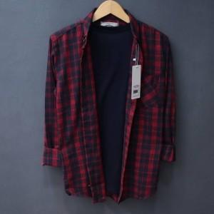 Harga kemeja flanel pria lengan panjang kemeja kasual motif kotak merah   merah | HARGALOKA.COM