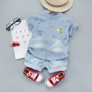 Harga baju stelan anak denim 1 4 tahun   denim blue | HARGALOKA.COM