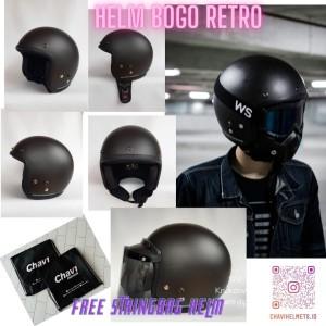 Harga helm bogo retro dewasa pria dan wanita flat visor smoke clear   blackstone | HARGALOKA.COM