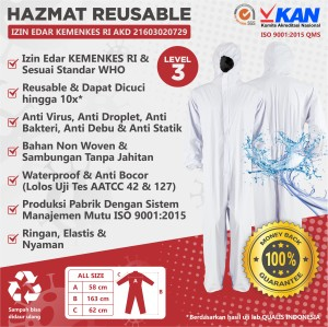 Harga apd hazmat suit waterproof medis baju safety coverall 4medguard | HARGALOKA.COM