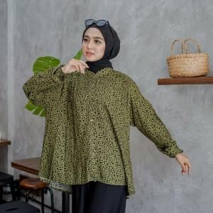 Harga atasan wanita blouse lengan panjang katun rayon motif army fit to | HARGALOKA.COM