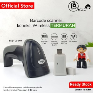 Harga barcode scanner wireless logic ls 34 w   baterai   bisa simpan   HARGALOKA.COM