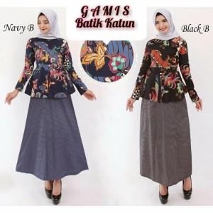 Harga baju gamis wanita terbaru dress batik muslim katun fashion lebaran   a392 navy | HARGALOKA.COM