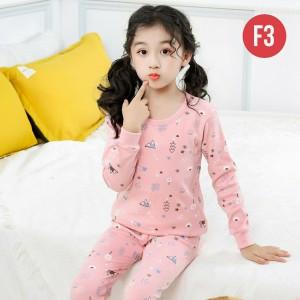 Harga set piyama perempuan lucu imut pink baju tidur anak lengan panjang   f03   HARGALOKA.COM
