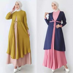 Harga ramadan baju gamis wanita dress muslim pakaian lebaran syari muslimah   grey motif | HARGALOKA.COM
