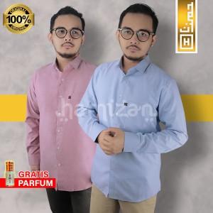 Harga premium baju kemeja pria polos panjang slimfit kerja casual formal 01   biru muda | HARGALOKA.COM