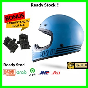Harga helm jp retro signature sgn  04 beat it light blue glossy klasik   l free srng | HARGALOKA.COM