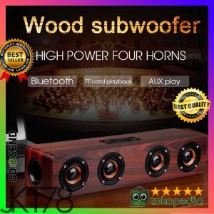 Harga toproad soundbar bluetooth speaker stereo subwoofer wood coklat  | HARGALOKA.COM