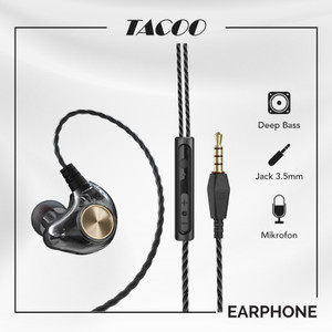 Harga tacoo in ear earphone earbuds hi fi deep bass braided cable with mic   | HARGALOKA.COM