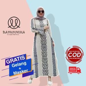 Harga baju gamis tenun wanita etnik troso jepara dress tenun wanita muslim   | HARGALOKA.COM