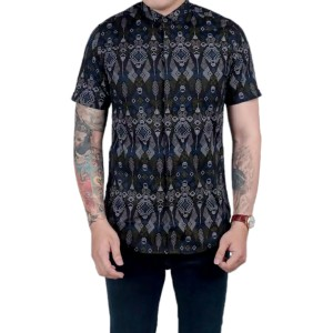 Harga baju kemeja casual batik songket pria kemeja formal cowok   hitam | HARGALOKA.COM