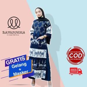 Harga baju dress tenun wanita etnik troso jepara motif sumbawa   | HARGALOKA.COM