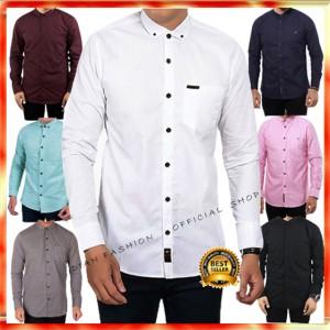 Harga kemeja polos pria lengan panjang casual hem baju kerja kasual formal   hitam | HARGALOKA.COM