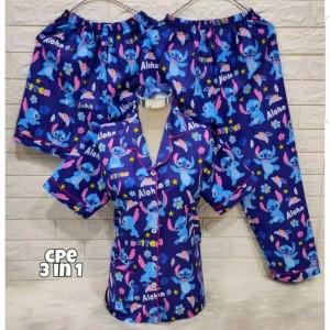 Harga ap baju tidur piyama 3in1 karakter   lilo   HARGALOKA.COM