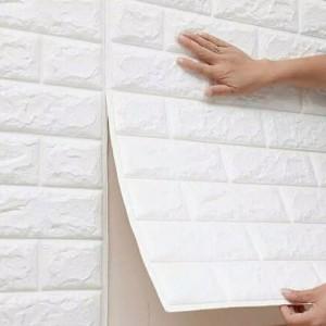 Harga mhshop wallpaper dinding foam 3d motif batu bata amp motif batik   biru | HARGALOKA.COM