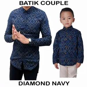 Harga kemeja batik couple ayah anak size jumbo   diamond navy   HARGALOKA.COM