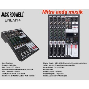 Harga mixer jack rodwell enemy 4 usb bluetooth interface 4 channel | HARGALOKA.COM