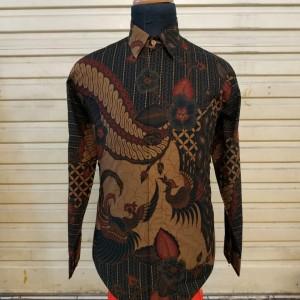 Harga baju kemeja batik pria panjang cowok premium seragam kantor bagus g119   orange | HARGALOKA.COM