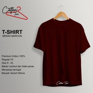 Harga kaos polos kaos pria baju pria atasan pria kaos premium merah maroon   | HARGALOKA.COM