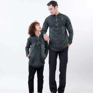 Harga baju koko couple kurta denim lengan panjang     HARGALOKA.COM