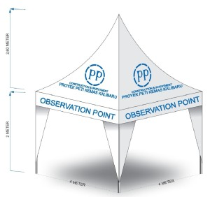 Harga tenda krucut 4 x 4 branding logo rangka galvanize double | HARGALOKA.COM