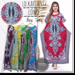 Harga daster lowo jumbo lengan pendek longdress ld 130 baju hamil motif bora   hijau | HARGALOKA.COM