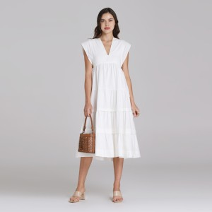Harga wearstatuquo troyes embroidery v neck dress   white   putih | HARGALOKA.COM