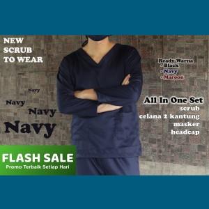 Harga ready baju ok bahan toyobo premium baju jaga baju oka scrub   navy panjang | HARGALOKA.COM