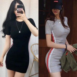 Harga korean bodycon dress 1067 xs   xl   hitam | HARGALOKA.COM
