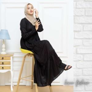 Harga baju gamis terbaru gamis rayon polos premium   hitam | HARGALOKA.COM