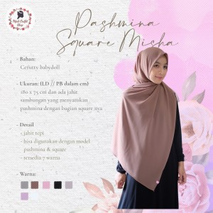 Harga pashmina square misha   pashmina instan model jilbab segiempat     HARGALOKA.COM