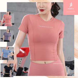 Harga baju atasan yoga crop top olahraga yoga fitness kaos dry fit ucan   merah muda | HARGALOKA.COM