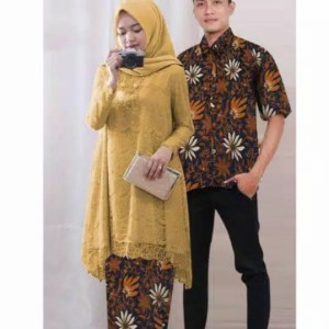 Harga baju couple pasangan pria wanita batik couple brukat keluarga | HARGALOKA.COM