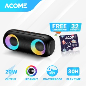 Harga acome super bass speaker bluetooth 5 0 20w ipx7 rgb rave party a20   free misco | HARGALOKA.COM