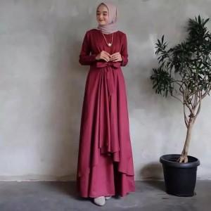 Harga gamis wanita dewasa gaun pengantin kombinasi brukat baju muslim trendy   maroon | HARGALOKA.COM