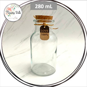 Harga Promo Mini Glass Booth Display Dome Cover Flower Vase With Wood Cork Katalog.or.id