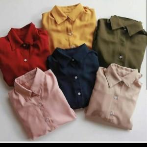 Harga basic top kemeja wanita polos kekinian gr olshop depok termurah   | HARGALOKA.COM