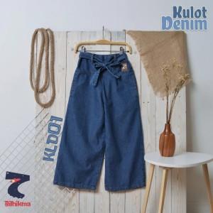Harga celana kulot denim anak perempuan panjang bilhikma celana jeans anak   dark blue | HARGALOKA.COM