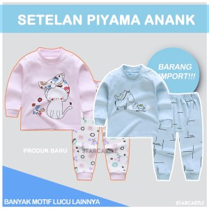 Harga import set piyama bayi lengan panjang anak lucu unisex baju tidur   rain cat 80 55 6 1   HARGALOKA.COM