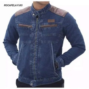 Harga jaket jeans pria sleting rocafela   jaket pria denim     HARGALOKA.COM