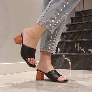 Harga sandal hak tahu heels wanita motif tiker   | HARGALOKA.COM