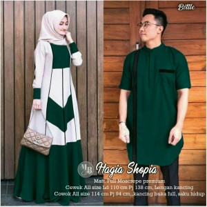 Harga couple gamis moscrepe couple muslim couple hagia shopia   hijau | HARGALOKA.COM