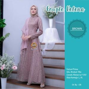 Harga gamis muslim terbaru helena dress modern   browwn all | HARGALOKA.COM